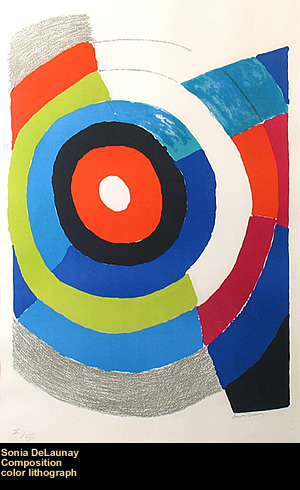 Composition, by Sonia DeLaunay, color lithograph